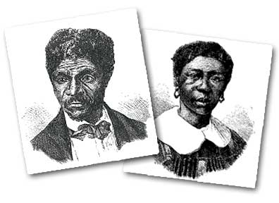 Two etchings circa 1857, Dred Scott on the left and his wife Harriet Scott on the right