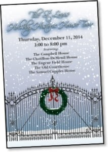 Promotional flyer for The St. Louis Holiday Historic House Tour with the image of a snowy gate with a wreath