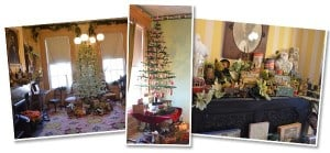 Three photos of the Field House Museum, L to R: the Gentlemen's Parlor of the historic house featuring holiday decorations and a feather tree; a corner of the study featuring a decorated feather tree; decoration of toys and holiday flowers above Eugene Field's piano