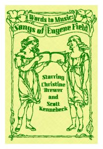 "Promotional image for ""Words to Music: Songs of Eugene Field"" featuring two illustrations of women sharing a song book"