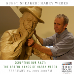 Promotional image for guest speaker Harry Weber, featuring a photo of Weber and a sculpture of a man