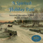 """Promotional image for """"A Spirited Holiday Past"""" event, featuring a background painting of a horse-drawn carriage in snow"""