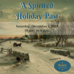 "Promotional image for ""A Spirited Holiday Past"" event, featuring a background painting of a horse-drawn carriage in snow"