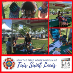 Set of 4 photos promoting Fair Saint Louis, all showing children and adults participating in craft activities