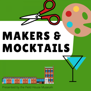 green Makers and Mocktails logo with scissors, martini glass, and paint palette