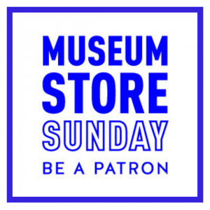 A logo for Museum Store Sunday. White background with blue text and a blue border.