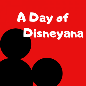 A promotional image for A Day of Disneyana event. Red background with Mickey ear design.