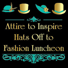 Fashion fundraiser image. Black background with teal and gold hats.
