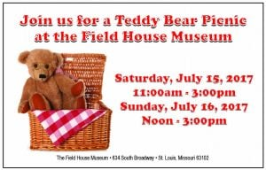 Promotional flyer for Teddy Bear Picnic event, featuring an image of a teddy bear in a picnic basket