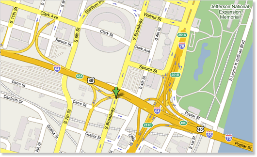 Street map of downtown St. Louis with an arrow pointing to the museum's location on S. Broadway, just south of Hwy 64.