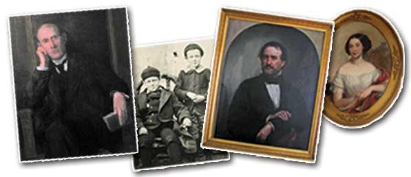Images of the Field Family (L to R): Eugene Field; Young Eugene Field with brother Roswell Field; Attorney Roswell Field; Frances Field