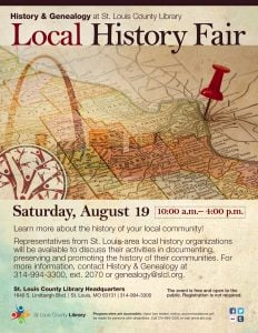 Promotional image for the Local History Fair; background features a map of the St. Louis area with a red pin near downtown