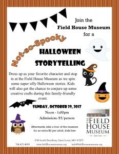 Flyer for Not-so-Spooky Halloween Storytelling, featuring illustrations of a smiling ghost, jack-o-lantern, and black cat