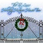 "Promotional image for ""The St. Louis Holiday Historic House Tour"" featuring a snowy gate with a wreath"