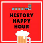 red square with beer mug advertising history happy hour events