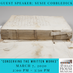 Image of a disassembled book advertising guest speaker, Susie Cobbledick
