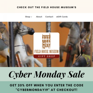 An ad for cyber monday featuring a toy in the background