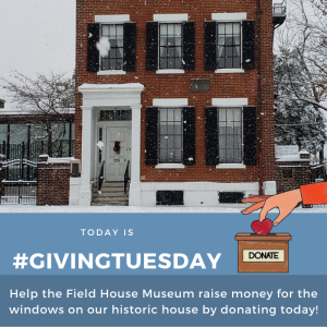 A promotional image for GivingTuesday picturing the house in winter