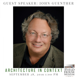 """A promotional image for John Guenther featuring his photo and title """"Architecture in Context"""""""