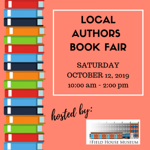 A media square for a local authors book fair featuring a stack of books