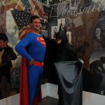 Characters Batman and Superman testing the photo booth at A Day of Disneyana.
